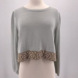Knitted & Knotted Cropped Lace Trim Sweater